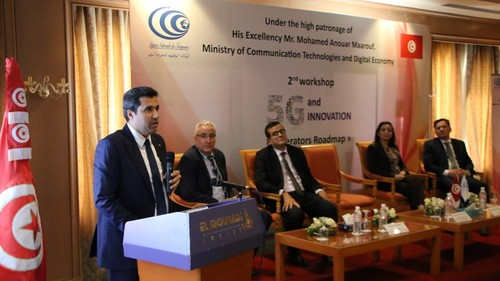 Anouar Maarouf, the minister of Communication Technologies and Digital Economy, talks at the December 2018 workshop on 5G and innovation.