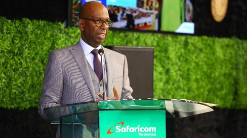 Bob Collymore, seen here at Safaricom's recent annual results presentation, served as the Kenyan operator's CEO since 2010.