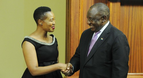 Department of Communications and Digital Technologies Minister Stella Ndabeni-Abrahams and South African President Cyril Ramaphosa during her swearing-in ceremony in November 2018 (Photo courtesy of GCIS).
