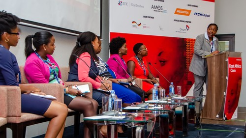 The East Africa Com stage was busy for the panel session titled 'Unleashing the economic potential of women in technology'.