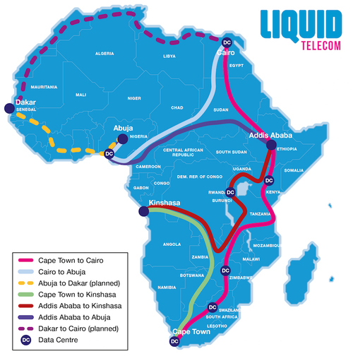 A map of Liquid Telecom's pan-African optical transmission network (without the planned South Sudan deployment).