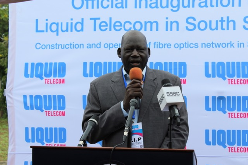Dr. Ladu Wani Kenyi, director general of South Sudan's National Communication Authority, speaking at the Liquid Telecom symbolic fiber digging inauguration in Juba on Monday July 1, 2019.