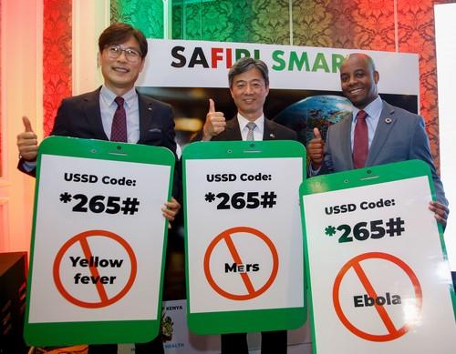 Myung-gon Chung from Korea Telcom,  Korean  Ambassador to Kenya Choi Yeonghan and Safaricom executive Steve Chege at the Safiri Smart launch in Nairobi, Kenya.
