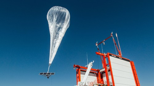 A Loon balloon being launched (picture courtesy of Loon).