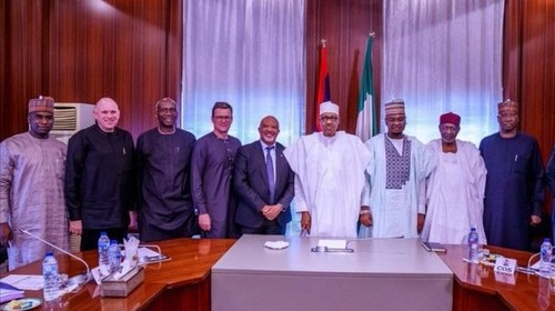An executive delegation from MTN met with Nigerian president Muhammadu Buhari and senior officials. Source Twitter.