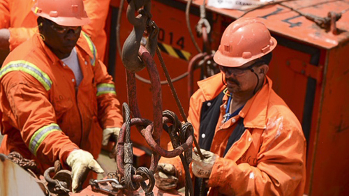 Marine diamond mining means miners are working in close proximity to heavy machinery. (Source: Orange)