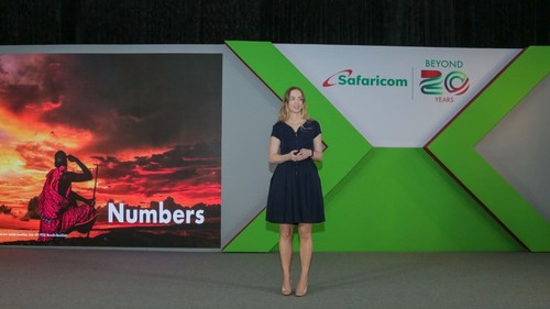 Safaricom's acting CFO, Ilanna Darcy, speaking during the 2020/2021 half-year results presentation in Nairobi.