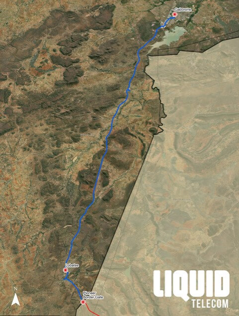 The fiber route between the Lobatse Border and Gaborone.  (Source: Liquid Telecom)