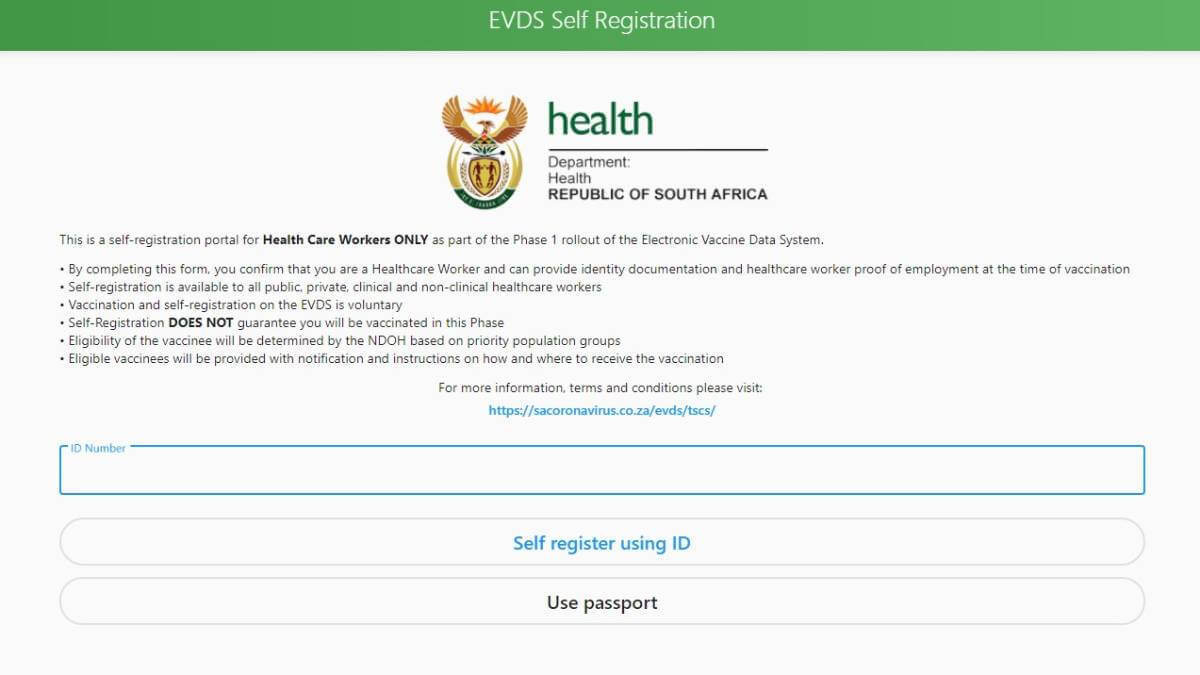 The Electronic Vaccination Data System's registration page.