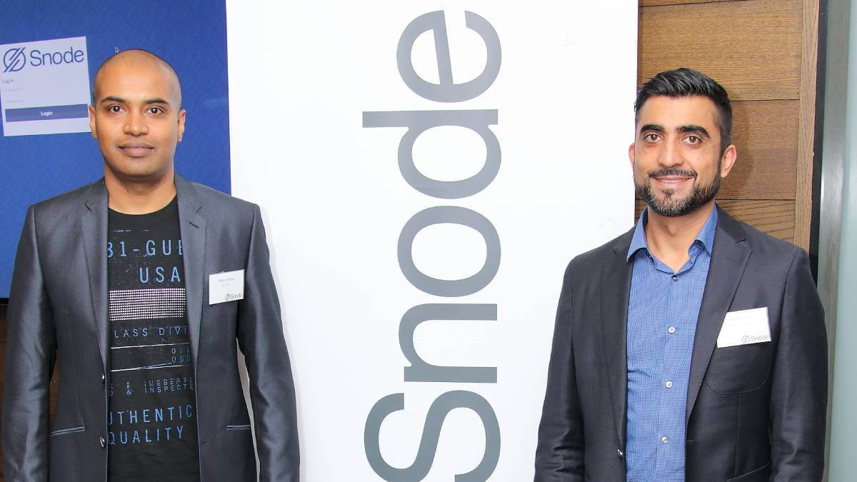 Snode founder and CEO Nithen Naidoo and Snode angel investor Nadir Khamissa.  (Source: supplied)