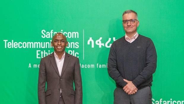 Safaricom group CEO Peter Ndegwa and Safaricom Ethiopia MD Anwar Soussa in Addis Ababa, Ethiopia September 3, 2021.  (Source: Peter Ndegwa's Twitter account.)