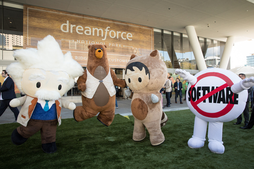 Quip introduced new collaboration tools at parent Salesforce's Dreamforce conference this week, where you could find these costumed mascots wandering the grounds. Photo by Salesforce.