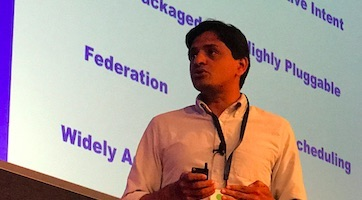eBay's Ashwin Raveendran addresses the Open Networking User Group conference.
