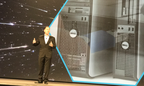Michael Dell delivers a keynote at Dell EMC World.