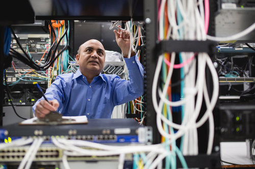 Chandra Upadhyay, Navisite senior director, systems engineering, performs routine testing at Navisite's Andover, Mass., data center.