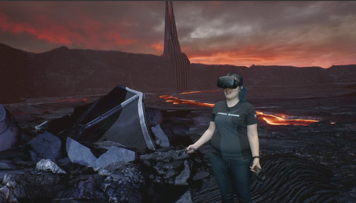 Epic Games programmer Lauren Ridge demonstrates virtual reality creation with the new iMacs.