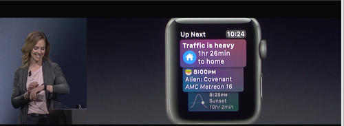 Vera Carr, Apple iOS software engineer, demonstrates features of the Apple Watch.