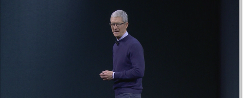 Apple CEO Tim Cook at Monday's Apple World Wide Developer Conference keynote.