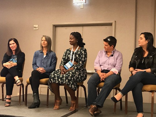 The University of Florida's Kyla McMullen (center) talks about her experience as a woman in tech on  a panel with (from left) IBM's Rachel Reinitz, Pivotal's Cornelia Davis, Allstate's Opal Perry, and the Cloud Foundry Foundation's Kim Bannerman.