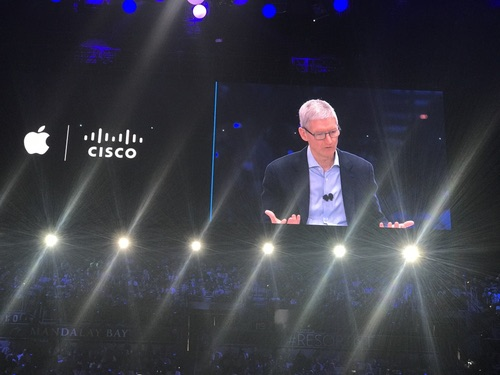 Apple CEO Tim Cook looms over Cisco Live.