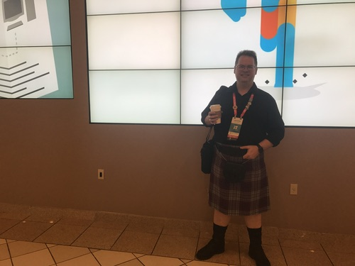 Jody Lemoine, an independent contractor at networking solutions provider Tishco Networks, participates in  #KiltedMonday, a Cisco Live tradition where some attendees wear kilts on Monday. Lemoine shared some thoughts about Cisco's newly announced 'network intuitive' strategy.