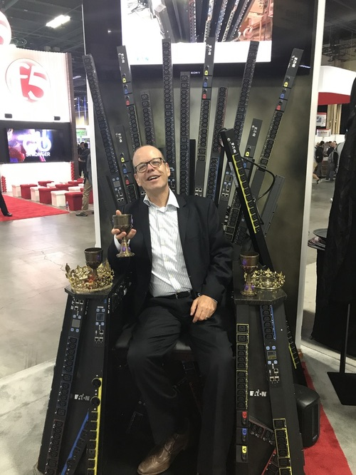 Here I am visiting the Eaton Power Management booth, with a Game of Thrones theme. The throne is made of power supply components.