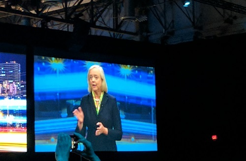 HPE's Meg Whitman speaking at an event.