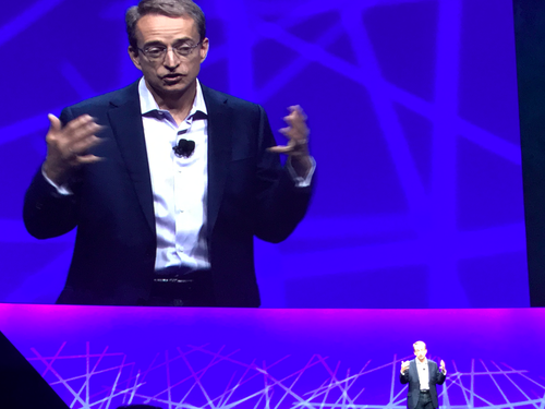 VMware CEO Pat Gelsinger and his mini-me at VMworld Tuesday morning.