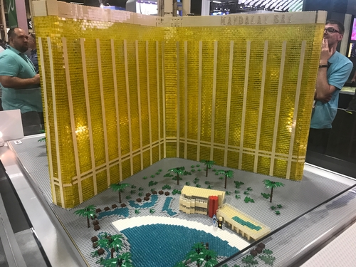 The Spectrum Navisite booth displayed a Lego model of the Mandalay Bay hotel, with a contest for folks to guess the number of bricks in the model.