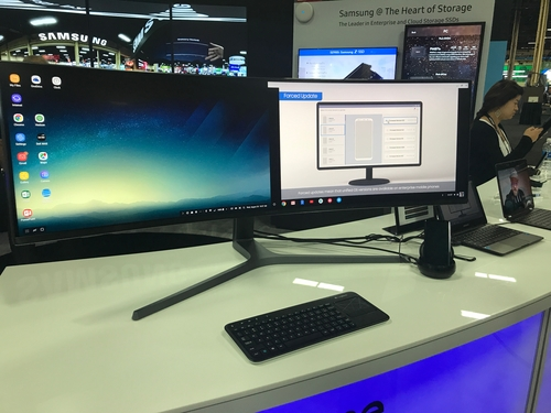 Samsung displayed the DeX Station, a dock to convert your phone into a fully functional desktop PC by attaching keyboard, mouse and display. Impressive!