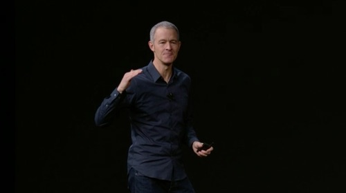Jeff Williams, Apple chief operating officer, demonstrates the Apple Watch.