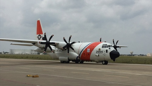 An HC-130J Super Hercules long range surveillance aircraft arrives at a L3 Technologies facility in Waco Texas for a retrofit in May. Photo by the United States Coast Guard