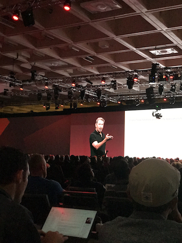 Oracle OpenWorld attendees are rapt as Larry Ellison delivers Sunday's keynote.