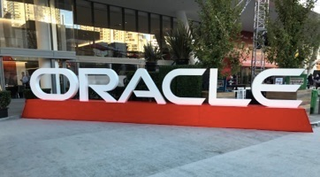 Oracle signage outside Oracle OpenWorld in San Francisco Monday morning.