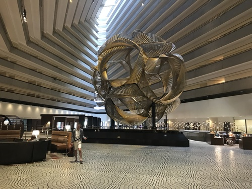 I stayed at the Hyatt Regency San Francisco on the Embarcadero, which is a fantastic location. As a hotel, it's pretty good, and as an example of 70s futuristic design it's outstanding.