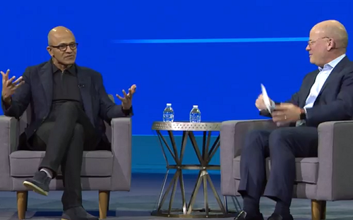 Microsoft CEO Satya Nadella (left) and GE CEO John Flannery at Minds + Machines