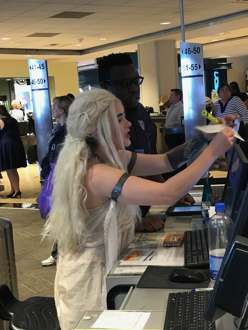 I flew to Dallas on Halloween. The gate agent was Daenerys Targaryen from Game of Thrones. Alas, the WiFi was down on our dragon, so I had to send ravens instead of email.
