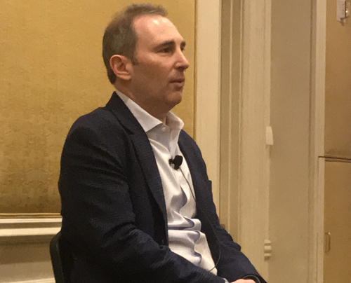 AWS's Andy Jassy addresses journalists in a Q&A after Wednesday's keynote at the re:Invent conference.
