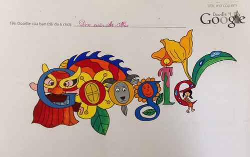 Doodle 4 Google winner 'Year of the Goat,' June 1, 2015, by 8-year-old Le Hieu from Dong Nai Province, Vietnam.