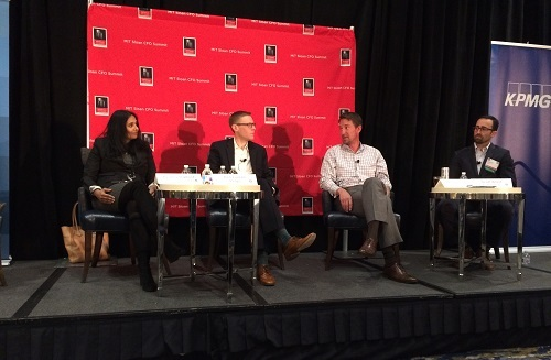Left to right: Aparna Ramesh, CFO of the Federal Reserve Bank of Boston; Pietr Lindahl, head of cyber threat reduction and strategic analysis at Philips; Kristian Talvitie, CFO of Sovos; and Scott Ward, CFO of Cybereason