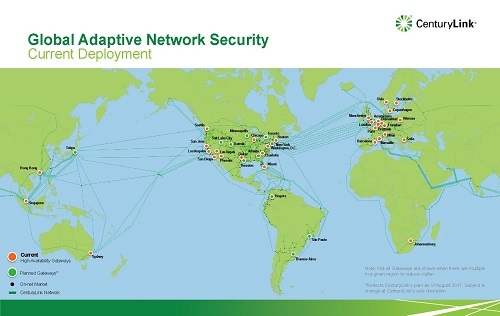 A map depicting CenturyLink's current and planned Adaptive Network Security gateways throughout the world.