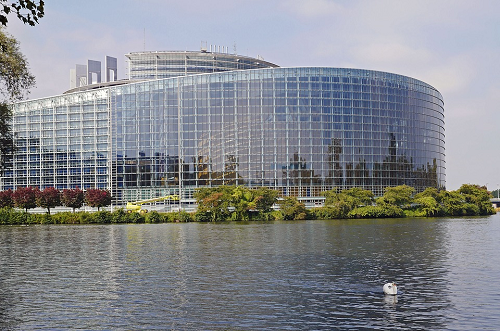 The European Union Parliament building in Strasbourg, France