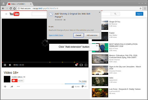 Fake YouTube extension that is part of the Nigelthorn malware