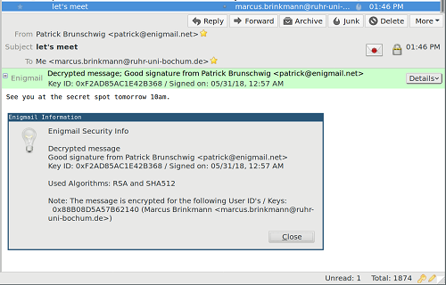 How the spoofing vulnerability works in Enigmail (Source: Neopg)
