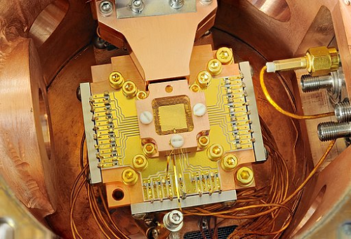 The insides of a quantum computer (Source: Y. Colombe/NIST via Wikipedia)
