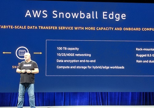 AWS CTO Werner Vogels introducing the upgraded Snowball device in New York City