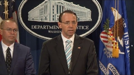 Deputy Attorney General Rod Rosenstein at a news conference earlier this month (Source: Justice Department)