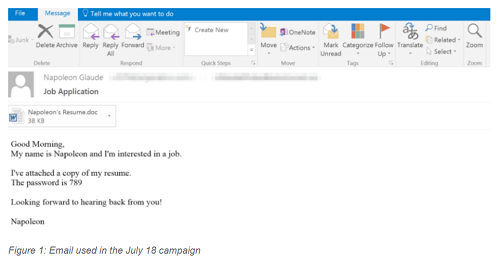 Screen shot showing email campaign advertising the AZORult update