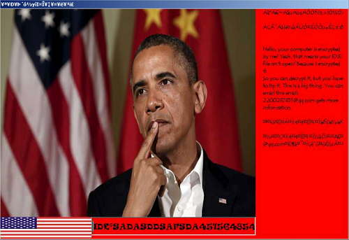 Ransomware email using Barak Obama's image