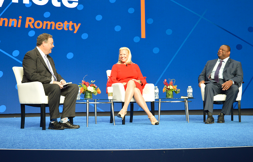 IBM CEO Ginni Rometty with Gartner analysts Dennis Gaughan (left) and Daryl Plummer